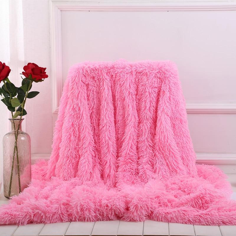 XC USHIO Elegant Throw Blanket for Bed Sofa Bedspread Long Shaggy Super Soft Warm Bedding Sheet Air Conditioning Blanket