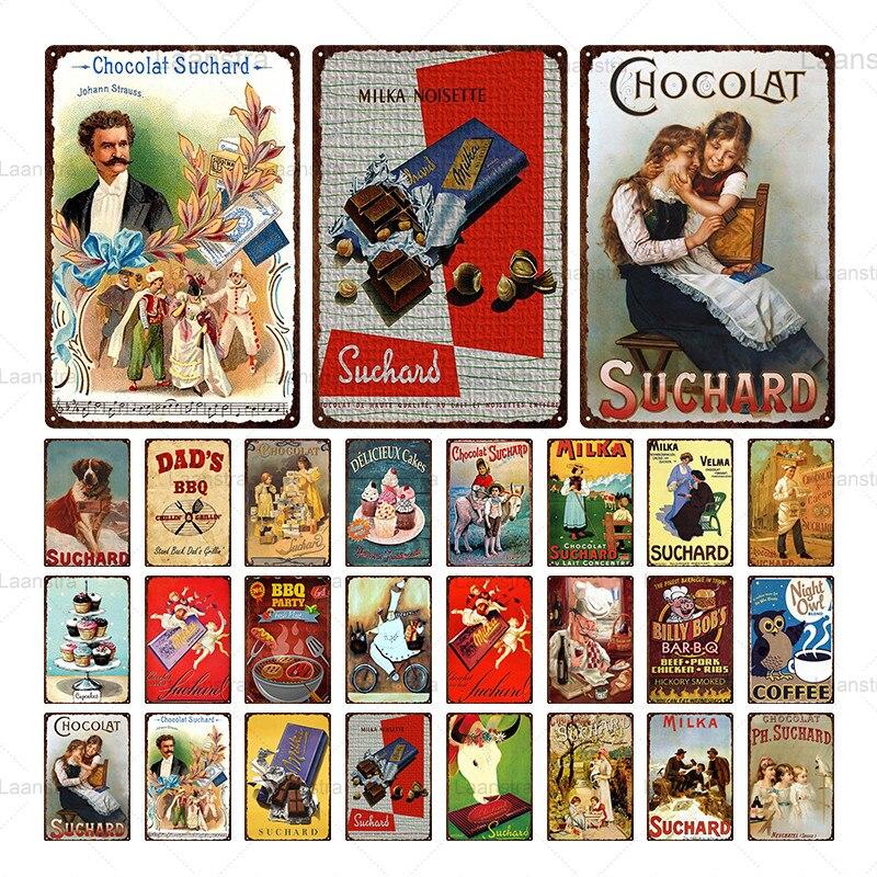 La lata de Chocolate y café Vintage cartel de Metal postre signo Arte de la pared Decoración para tienda de Chocolate Café Bar barbacoa Pub Placa de hierro