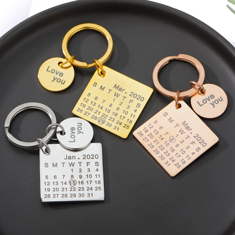Custom Calendar KeyChain Stainless Steel Personalized Name Key Chain Gold Silver Color llavero Date Birthday Anniversary Keyring недорого
