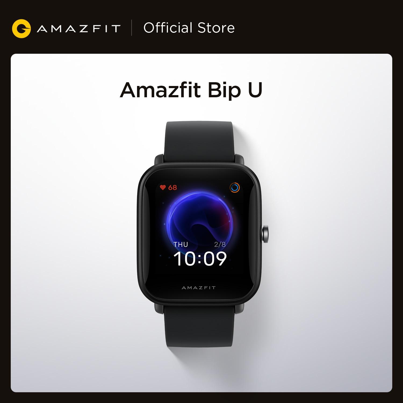 جديد الأصلي Amazfit Bip U Smartwatch 5ATM مقاومة للماء اللون عرض الرياضة تتبع ساعة ذكية للهاتف أندرويد iOS