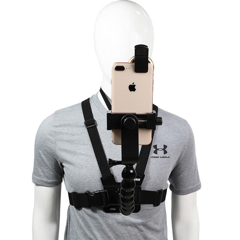 2020 الهاتف المحمول الصدر جبل تسخير حزام حامل الهاتف الخليوي كليب عمل كاميرا تعديل الأشرطة لهواوي شاومي آيفون