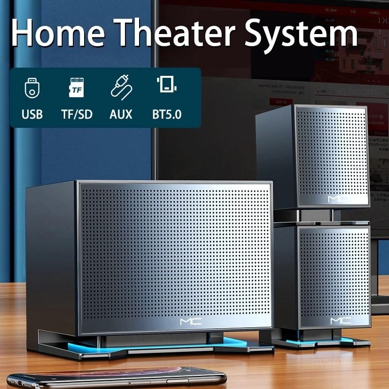 LED مكبرات صوت بخاصية البلوتوث مسرح منزلي نظام دعم ميكروفون TF USB AUX الكمبيوتر المتكلم باس مكبرات الصوت من للكمبيوتر 3D ستيريو العمود