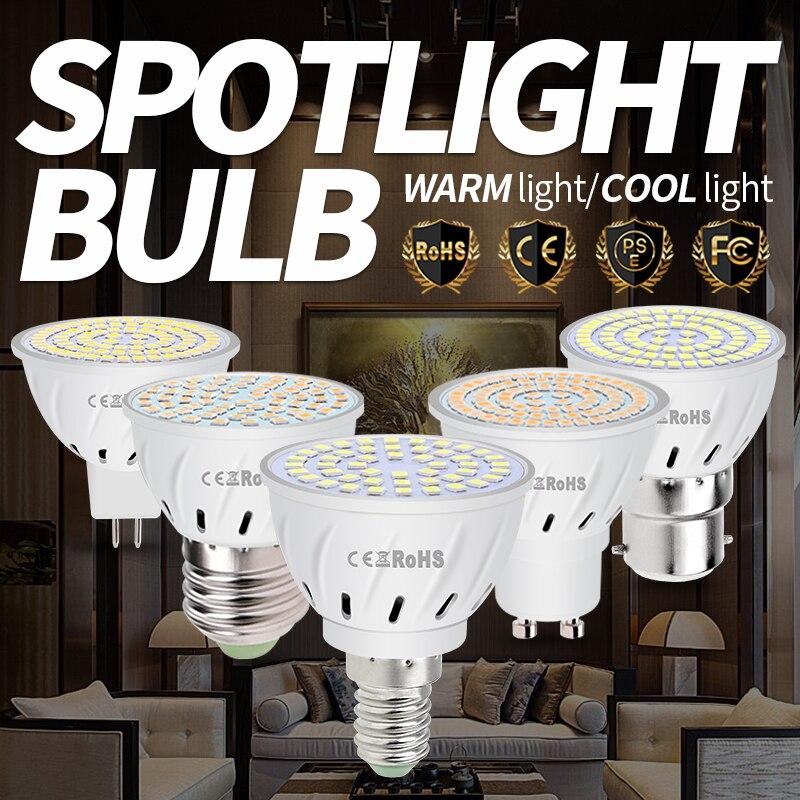 GU10 Bombillas E27 точечная Лампа B22, комнасветильник освещение, кукурузная лампочка E14, Точечный светильник MR16, светодиодсветильник лампочка 220 В, GU5...