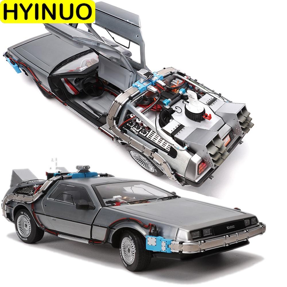 Coche en miniatura de Metal fundido a escala 1/18, máquina de tiempo parcial de aleación, modelo de vehículo DeLorean Toy Welly vuelta al futuro, edición limitada