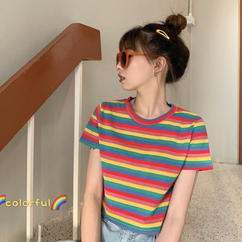Women T-Shirt Fashion O Neck Rainbow Striped Short Sleeve Pullover Crop Top T-Shirt  Feme