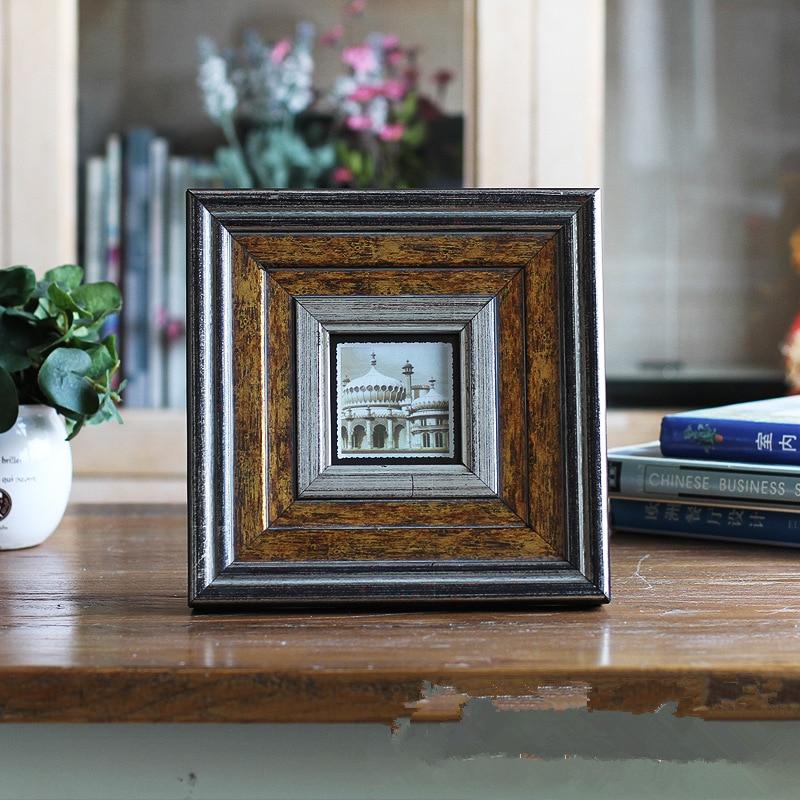 Criativo 3 polegada mini photo frame decorações retro para desktop quadros de imagem da família quadro de parede quadro de 6/7 polegada resina presente