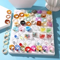 ifkm 2021 new transparent resin acrylic rhinestone colourful geometric square round rings set for women jewelry party gifts