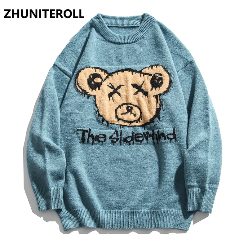 2021 New Knitted Bear Jumpers Sweaters Men Hip Hop Harajuku Casual Pullover Knitwear Fashion Knit Outwear Streetwear Couple Tops