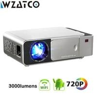 WZATCO     Mini projecteur intelligent T6  Support optionnel  HD 1080p  LED  Android  WIFI  pour Home cinema  jeu  cinema