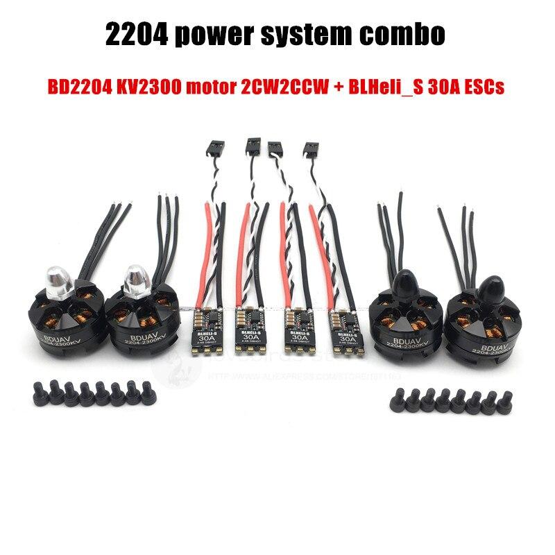 BD2204 2300KV potencia del motor sistema combo + BLS30A CES 3-4Sfor DIY PFV mini Cruz racing quadcopter drone