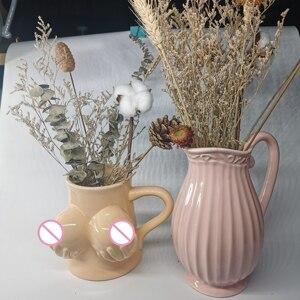 Modern Ceramic Pitcher Vase for Home Decoration Bust Kettle Flower Holder Rural Style Hydroponic Table Pot Porcelain Craft Funny