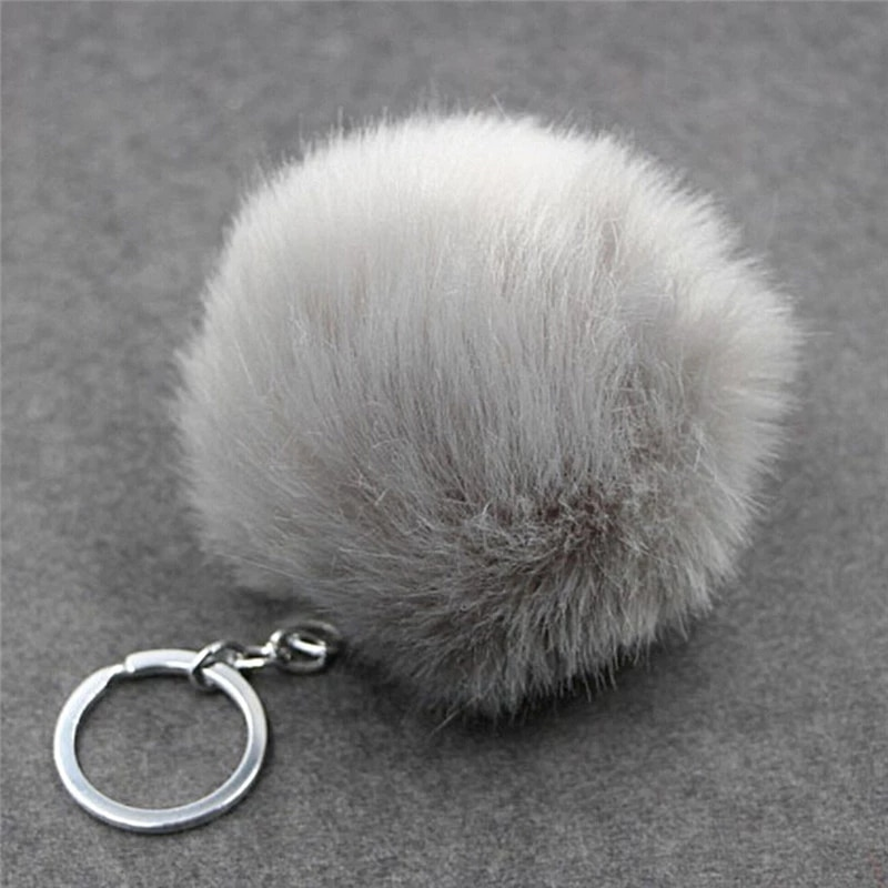 1Pcs Silver Metal Auto Key Chain Faux Rabbit Fur Ball Buckle Pom Pom Fluffy Porte Clef Llaveros Keychain For Bag faux leather pom pom crossbody bag