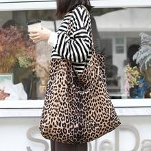 Over Large Canvas Leopard Tote Bag Women Casual Big Capacity Oversize Slouch Bag Handbag Female Eco-friendly Reusable Handbag