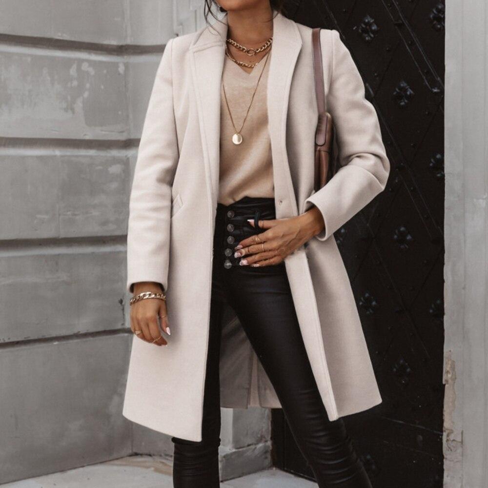 2020 automne femmes laine manteau à manches longues un bouton de mode tourner vers le bas femmes mélanges casual lâche affaires manteau hiver Outwear
