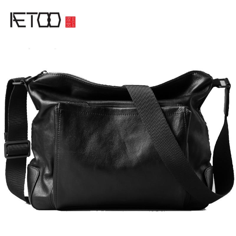 AETOO-حقائب جلدية للرجال ، حقائب كتف غير رسمية ، حقائب جلدية مائلة للرجال