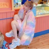 sueters de mujer rainbow cardigan female cardigan kawaii korean fashion sweater women womens jacket spring and autumn 2021