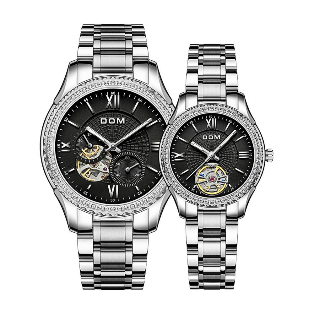 DOM Automatic mechanical watch couple watch waterproof sport stainless steel women's watch luminous  men's watch business