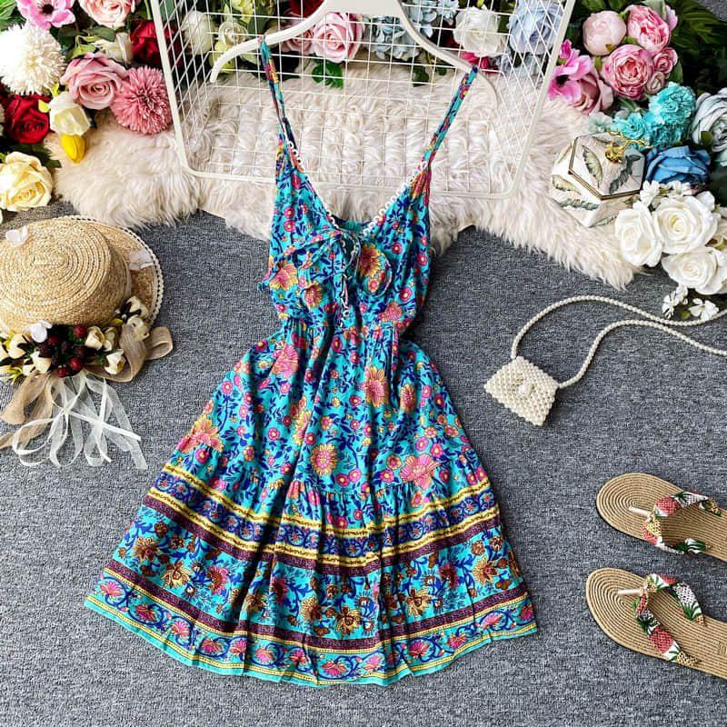 Vestido feminino verão moda wear espaguete cinta sem costas império cintura meados de comprimento sem mangas rendas impressão bainha grande streetwear vestido