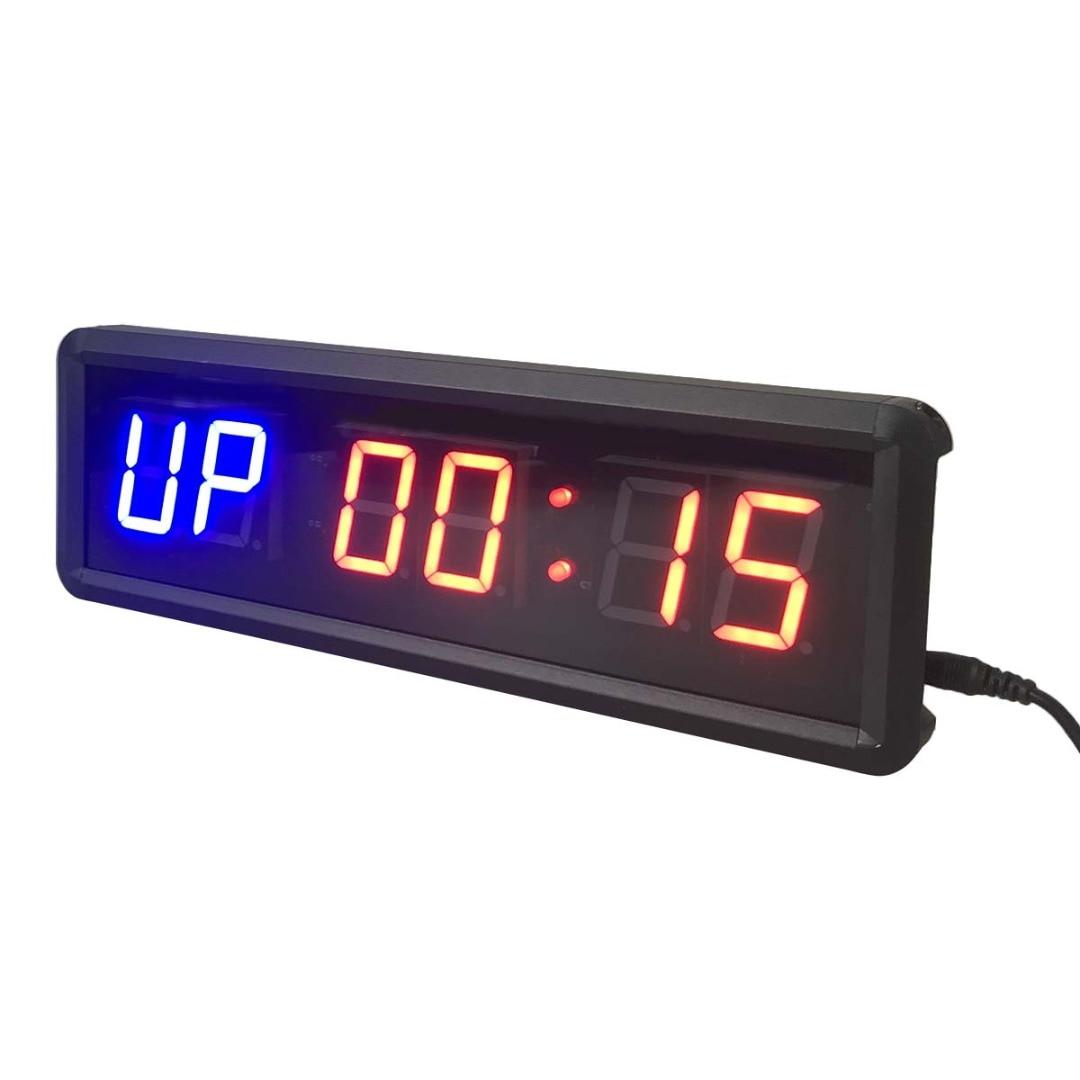 1,5 6-bit Fitness entrenamiento LED temporizador gimnasio en casa deporte colgante cronómetro reloj electrónico Prescise Reloj de pared IR Control remoto