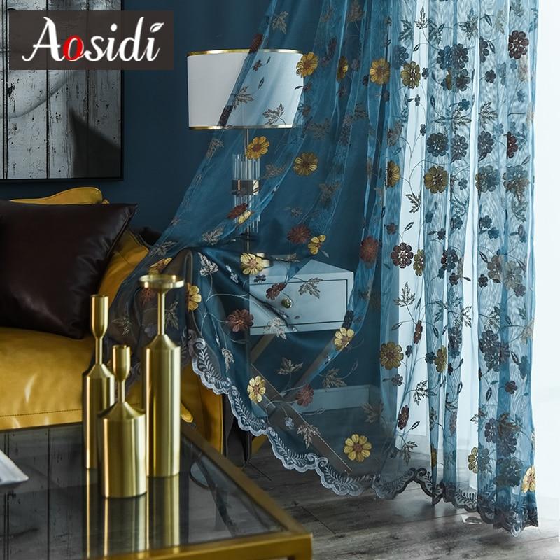 Cortinas de tul bordadas de Arte Moderno AOSIDI para la ventana del dormitorio de la sala de estar cortinas de gasa Floral cortinas personalizadas de alta calidad 3D