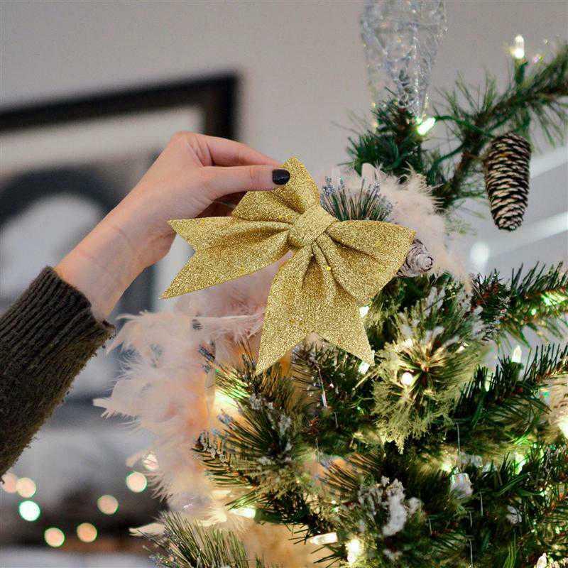 Украшение для рождественской елки, 14 см, большие луки, искусственные Луки, подвесное Рождественское украшение, Декор, подвеска для вечерние,...