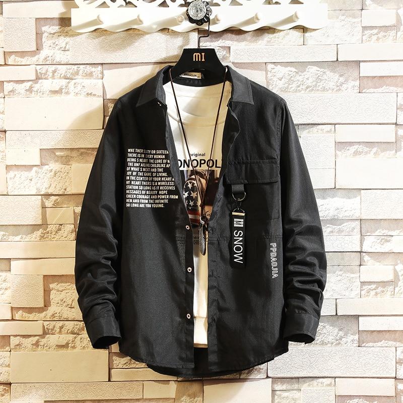 HIP HOP Streetwear Casual Black White Rock Shirt Men Long Sleeve High Quality 2020 Loose Spring Autumn