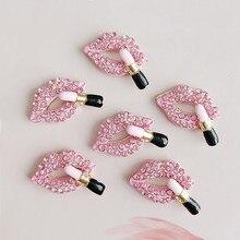 Boutons en alliage de strass 5 pièces/lot   Rouge à lèvres rouge, boutons pour filles, coque de téléphone, accessoires bricolage de décoration vêtements bijoux