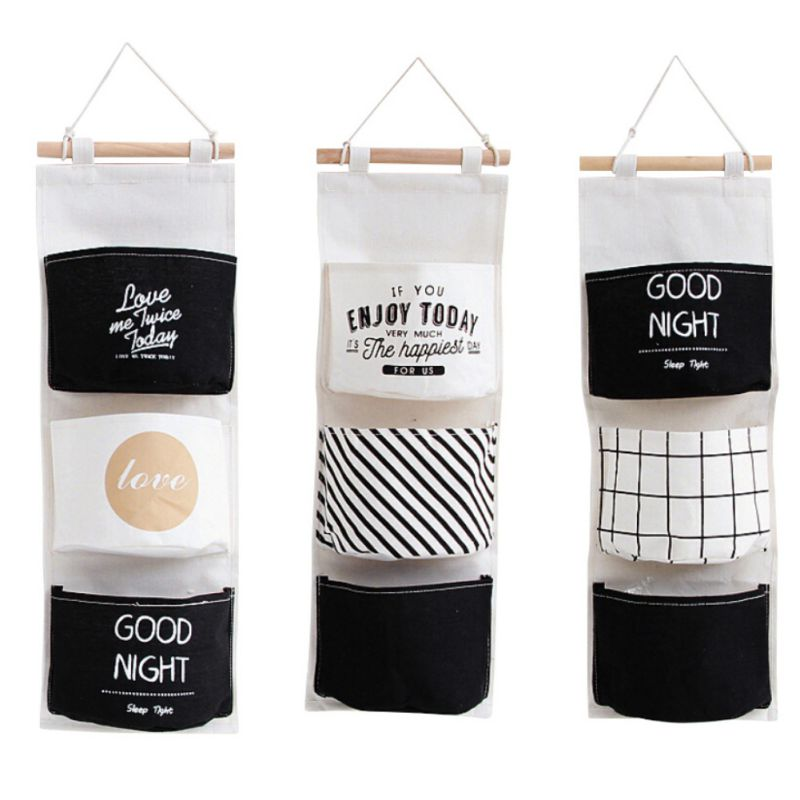 3 Pockets Hanging Storage Bag Wall Mounted Wardrobe Sundries Container Fabric Cotton Pouch Home Closet Organizer