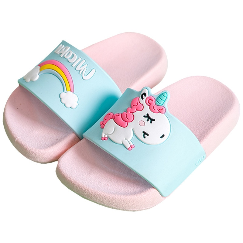 Suihyung Unicorn Slippers Boy Girl Summer Kids Rainbow Shoes Non-slip Beach Sandals Toddler Indoor B