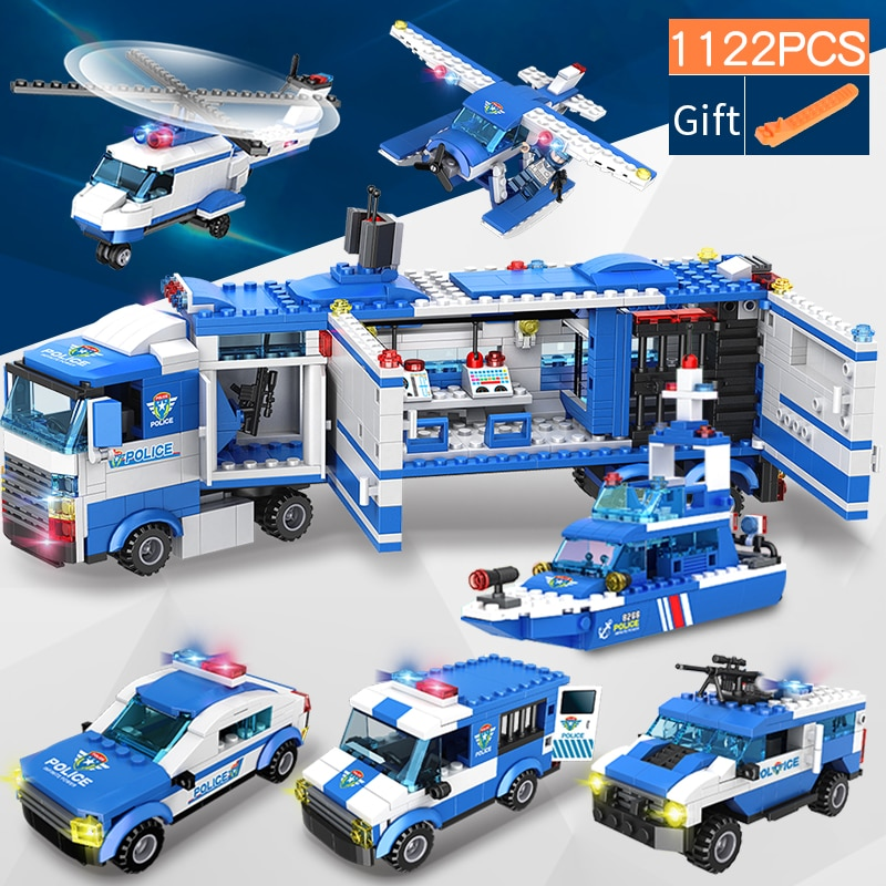 1122 pcs City Police Station SWAT Building Blocks Car Helicopter City House Truck Blocks Creative Br