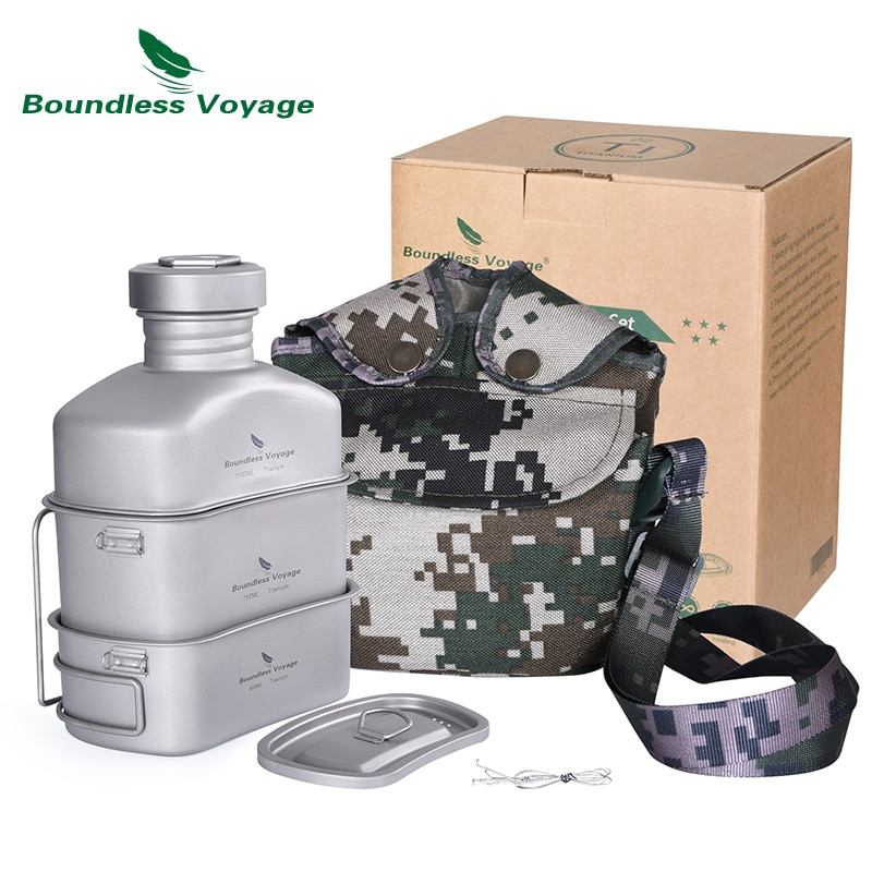 Boundless Voyage Titanium Military Canteen with Camouflage Bags Kidney-Shaped Camping Pot Pan Set with Lid & Hanging Chain