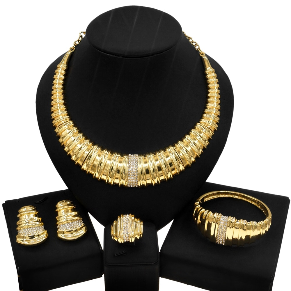 Yulaili أحدث موضة الذهب الإيطالي طقم مجوهرات الماس كبيرة وأنيقة بريق السيدات عشاء كبير أقراط طقم مجوهرات s