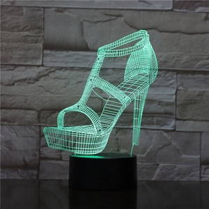 Women's High Heels Shoes 3D Led Night Light Atmosphere Table Lamp Bedside Girlfriend Birthday Gifts Lampara Decor Lights 1971