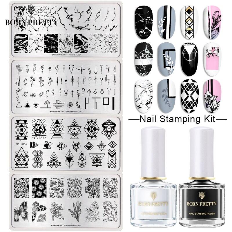 BORN PRETTY-Kit de estampación para uñas, esmalte de uñas en varios colores, estampado de flores, geométricas, etc. 1 Juego