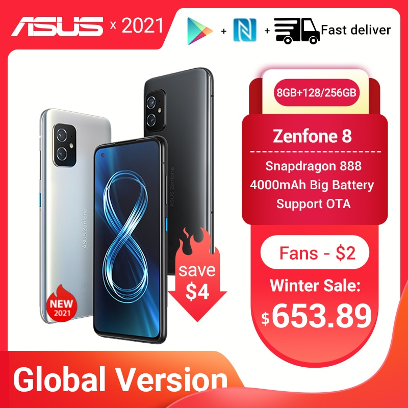 NEW Global Version ASUS Zenfone 8 Snapdragon 888 8/16GB RAM 128/256GB ROM 5.9'' IP68 Water-Proof Android OTA 5G Cellphone