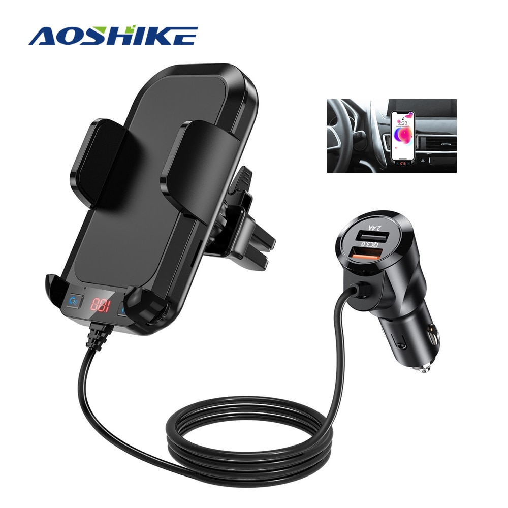AOSHIKE QC3.0 شاحن الهاتف اللاسلكي بطاقة SD FM الارسال مشغل MP3 بلوتوث استقبال حر اليدين آيفون Holde منفذ الهواء