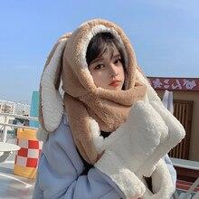 Sweet cartoon rabbit ear hat cute winter gift windproof scarf glove set cute winter thick hoodie sca