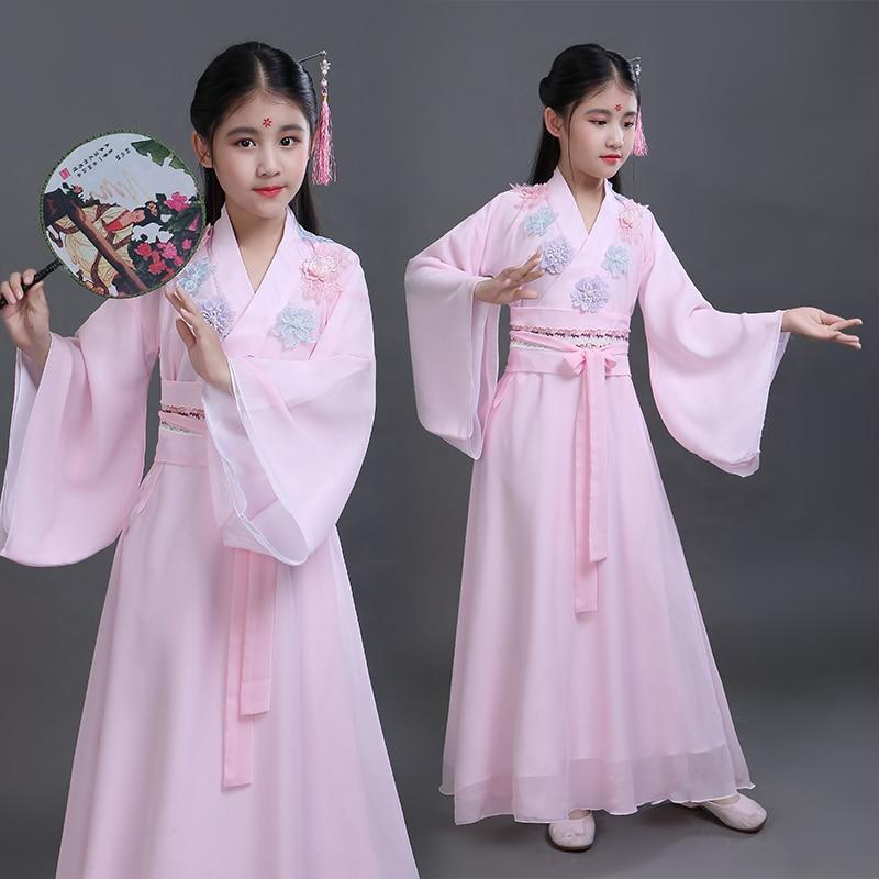 2021 Hanfu فستان الفتيات الملابس التقليدية الجنية الصينية الشعبية ملابس رقص الوردي Hanfu الاطفال الكلاسيكية الرقص مرحلة ارتداء