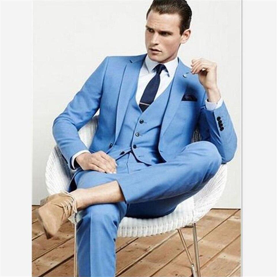 Nuevo Traje azul claro para boda, Traje de esmoquin, Traje Formal para Hombre, Traje para Hombre (chaqueta + pantalón + chaleco) Traje para Hombre