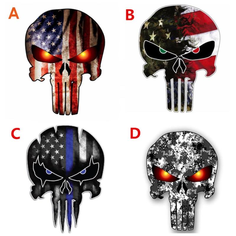 Personalized skull sticker reflective printing ghost body sticker Punisher graffiti flag skull car sticker auto parts