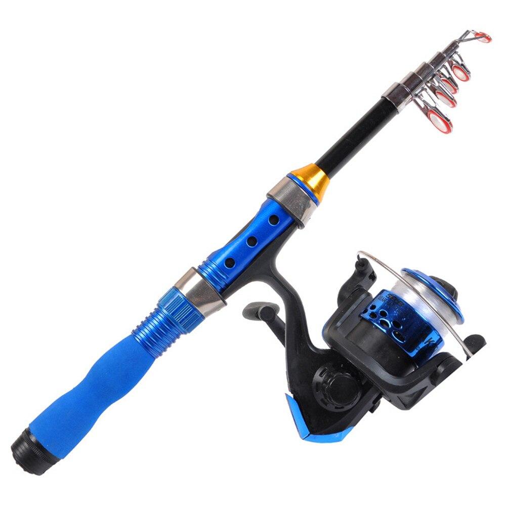 2019 New Short Classic Blue Fishing Rod Reel Combo Set 1m-2.3m Sea Telescopic Fishing Pole Spinning YF200 Wheel Kit