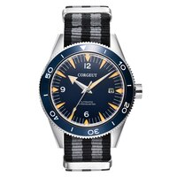 Corgeut Mens Fashion Luxury Sports Waterproof Automatic Mechanical Watch Nylon strap Blue Luminous Dial Calendar Miyota Watches