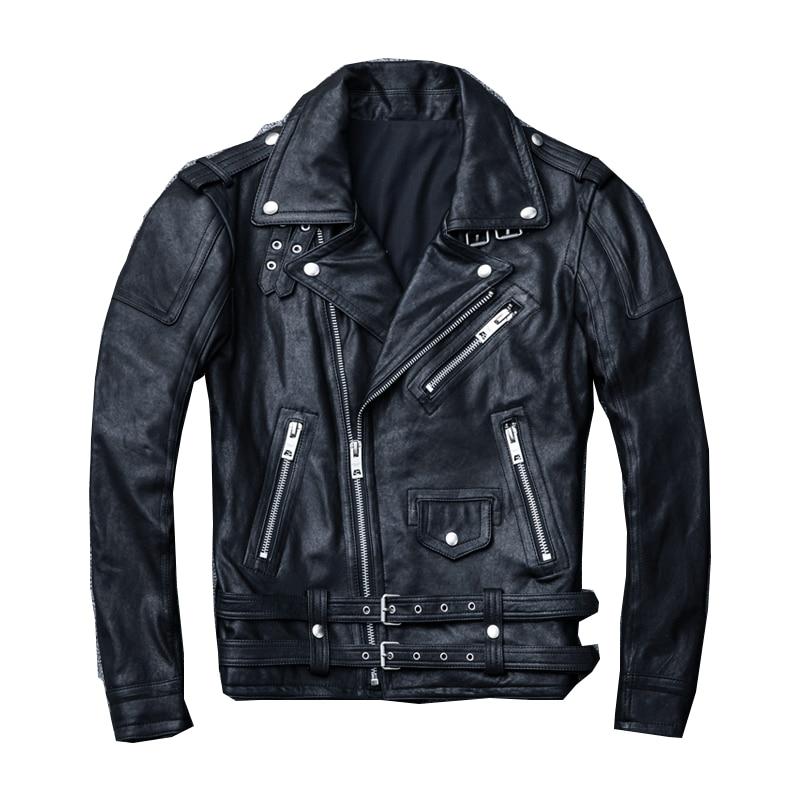 جلد الرجال سترة جلدية سوداء دراجة نارية الملابس دراجة نارية سترة الخريف