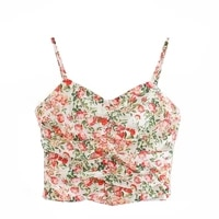 2021 women club vintage floral adjustable shoulder wrap tops sexy squiggle print bustier mini cami sling backless short top lady