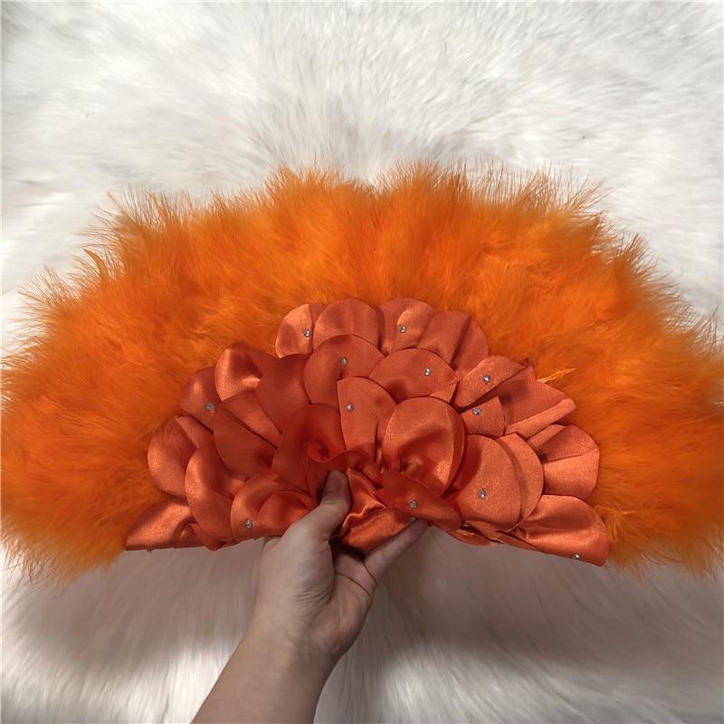 Abanico africano de plumas hecho a mano para decoración de bodas 2020 abanico de mano con piedra abanico de plumas de doble cara-30