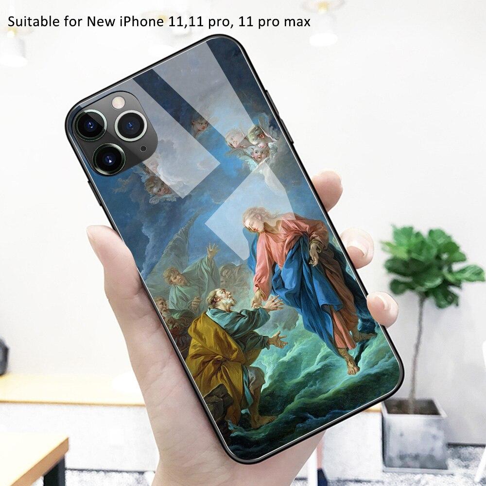 Para o iphone 11 caso de vidro capa traseira arte papel de parede caso iphone 11 pro max capa funda para iphone 11 pro