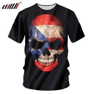 UJWI 3D Skull T Shirt Men 2019 Summer New Horror Funny Creepy Digital Printing O-Neck  Breathable  Plus Size 4XL 3D TShirt Men