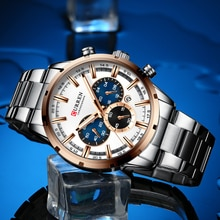 CURREN Luxury New Mens Stainless Steel Band Wristwatches for Men Casual Fashion Quartz Clock Mens Ch