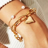 multi layered imitation pearl heart love bracelet for women openable photoes box ot buckle heart charm couples bangle jewelry