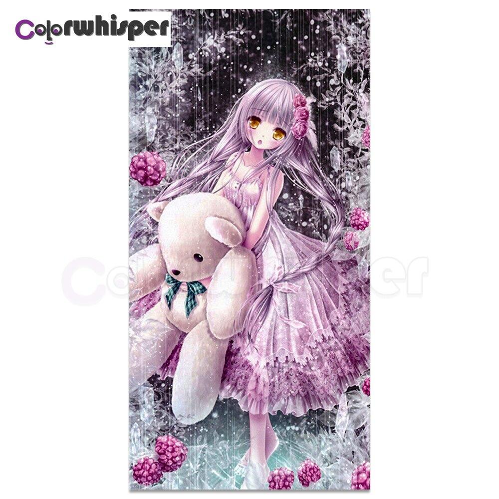 Pintura de diamante 5D Diy cuentas cuadradas completas de dibujos animados niña princesa oso de peluche Daimond bordado resina arte mosaico para habitación LE00377